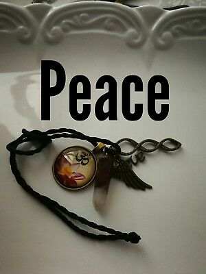 Code 484 Peace Agate Infused Necklace Lotus Doreen virtue certified practitioner
