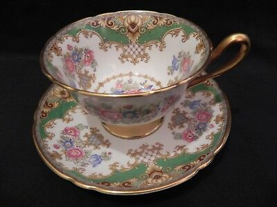 Shelley Deep Green & Floral Sheraton Tea Cup And Saucer