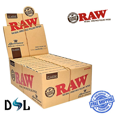 Raw Classic Masterpiece Connoisseur King Size Slim papers + 24 Pre-Rolled Tips