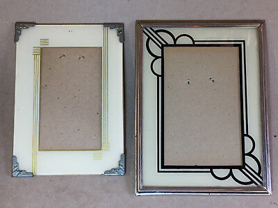 2 Vintage Art Deco Reverse Painted Table-Top Picture Frames Easel Back