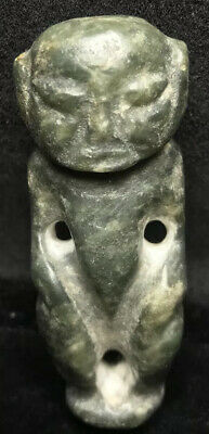 Rare Old Large 65G Pre-Columbian Ancient jade Figure pendant Amulet Guatemala