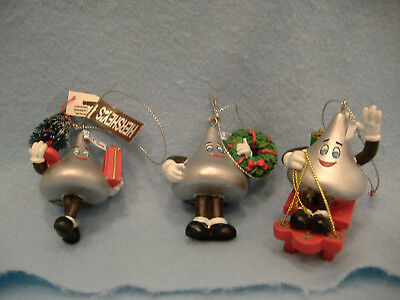 Vintage Hershey's Chocolate Kisses Christmas Ornaments-3-Sled-Wreath-Tree-2001