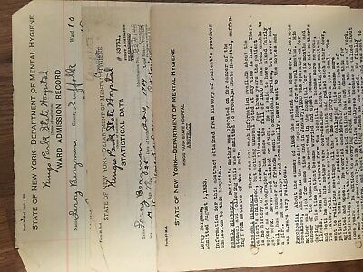 Handwritten Ward Admission - Kings Park State Hospital Patient File