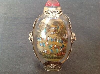 INTERNALLY PAINTED & WHITE METAL BOUND 12cm SNUFF BOTTLE CHARACTER MARKS TO BASE