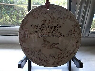 """Vintage Staffordshire Wall Plate """"when This You See..."""" England"""