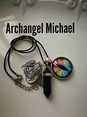 Code 424 Archangel Michael Infused Spiritual necklace Wrap me up Guardian Angel