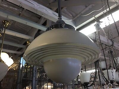 Original Art Deco Shade Glass Retro Lamp Light Diana White Saucer Beehive Step