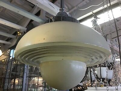 Original Art Deco Shade Glass Retro Lamp Light Diana Cream Saucer Beehive Step