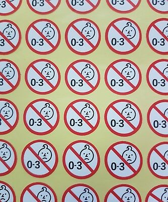 Warning Safety 0-3 Stickers x20 Not Recommended for Children 3 and Under