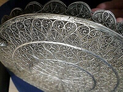 "Antique Magnificent Hand-Made Silver Filigree Plate Tray Edged, 9""+ / 416+ grams"