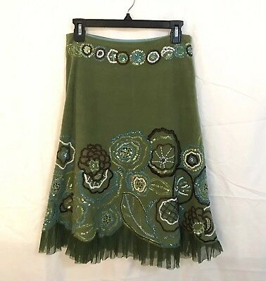 7a6d27f7c3e4b BASIL & MAUDE Anthropologie Boho Skirt Sz 4 Green Embellished Beaded Lined  - $30.00 | PicClick