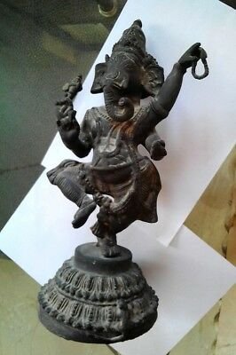 "Vintage Beautiful Collectible Antique Brass Dancing Ganesha 14"" -3.830 Kg Statue"