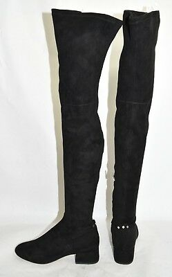 16496b2c023  200 DOLCE VITA Jimmy Over the Knee BOOTS 7.5 Black Faux Suede Block ...