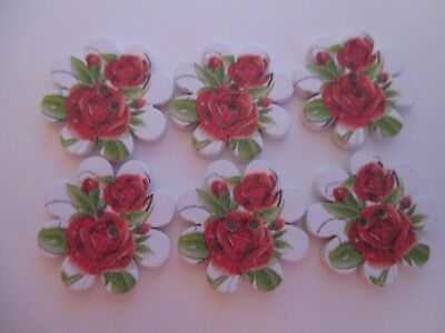 6 x 20mm Flat Wooden Buttons RED ROSES on Flower shape 2Holes No.1482