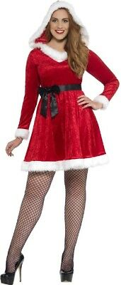 Ladies Curvy Mrs Claus Santa Christmas Xmas Fancy Dress Outfit Costume Plus Size