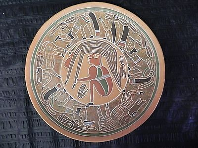 """Vintage Mexican Mayan Terra Cotta Clay Pottery Plate Charger 13"""" Deer & Man"""