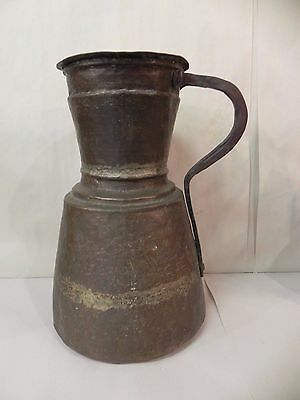 Large Antique Islamic Middle Eastern Hand Hammered Copper Tankard Jug Pitcher