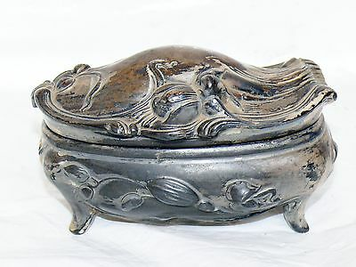 Collectibles Rogers Silverplate Art Nouveau Raised Floral & Footed Trinket Box #940; C.1920 High Quality Materials Antiques