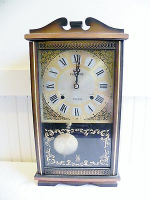 Vintage Penchime Winding 31 Day Clock Wooden Wood Wall 1960's Japan See my Video
