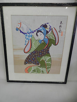Antique Vintage Japanese Painting Geisha Girl Print on Silk Signed & Framed OLD