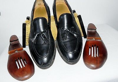 Johnston & Murphy 10.5 Black Calfskin Leather Loafers Crown Aristocraft Shoes