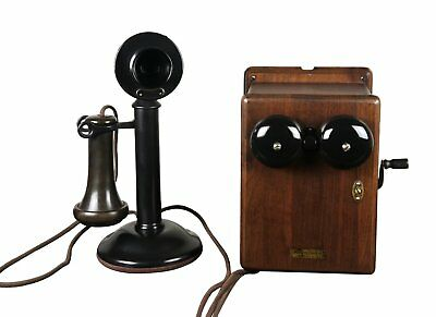 Antique 1915 Western Electric Candlestick Telephone Walnut Ringer Box