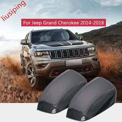 Carbon Fiber ABS Rear Mirror View Cover Trim For Jeep Grand Cherokee 2014-2018
