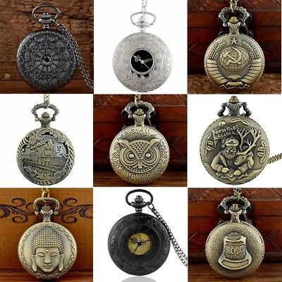 Retro Steampunk Vintage Quartz Movement Pocket Watch Pendant Necklace Chain Gift