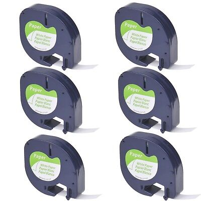 6PK Black on White Paper Tape Label 91330 for DYMO Letra Tag LT-100H 100T QX50