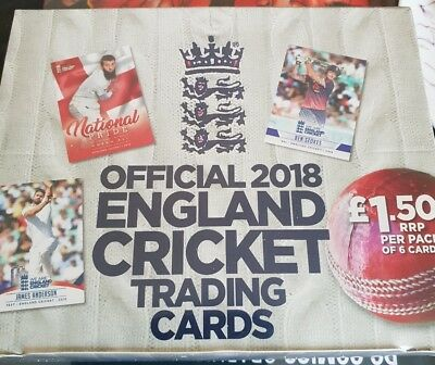 Official 2018 ENGLAN CRICKET TRADING CARDS full Box 36 pack.