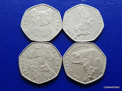 2017 Beatrix Potter Benjamin Bunny , Kitten ,Rabbit 50p Coin Coloured Decal