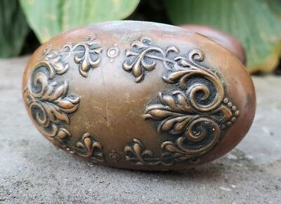 Antique Victorian Ornate Brass Door Handle Oval