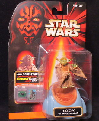 YODA w/JEDI COUNCIL CHAIR  HTF STAR WARS ACTION FIGURE & COMMTECH CHIP