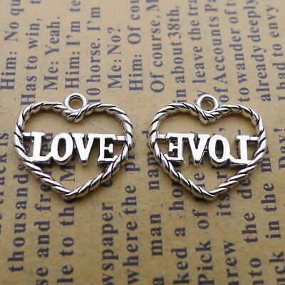 15pcs Heart Charms Love Words Hollow Tibetan Silver Bead Pendant DIY 14*15mm