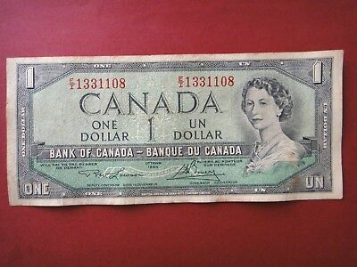 RARE  Canada Ottawa 1954  $1 Dollar  Paper Banknotes  Circulated Condition VF+++