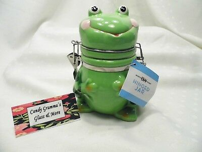 Boston Warehouse Ceramic Frog Hinged Jar Green Flip Top With Tag