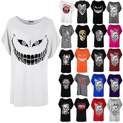 Womens Ladies Baggy Batwing Lagenlook Vampire Blood Teeth Halloween T Shirt Top