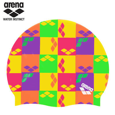 Arena Print 2 Factory Yellow Silicone Swimming cap One Size Fits All Waterproof