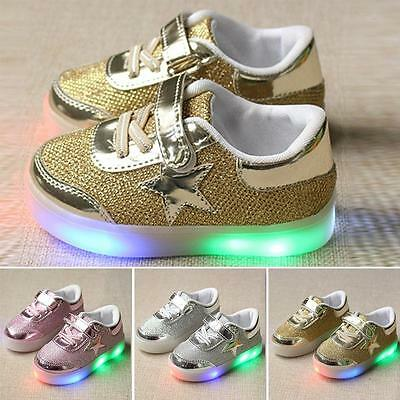 Baby Kids Boys Girls LED Shoes Light Up Luminous Sport Trainers Sneakers #X