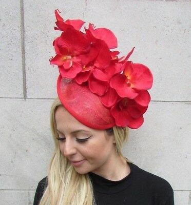Red Orchid Flower Saucer Disc Hat Fascinator Headband Hair Band Races Large 6306