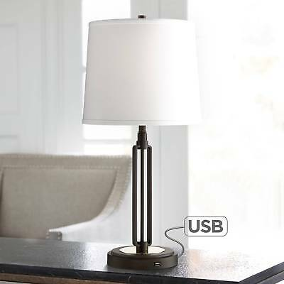 Industrial Table Lamp with USB Iron Bronze White for Living Room Bedroom