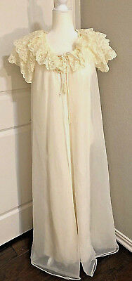 Vintage Shadowline Gown Chiffon Robe, Womens Small, bridal Night Gown Ivory Lace