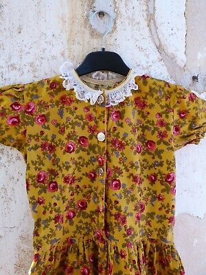 1970/70s Authentic Girl Dirndl Tyrol Austria German Floral Dress  size 6/8 years
