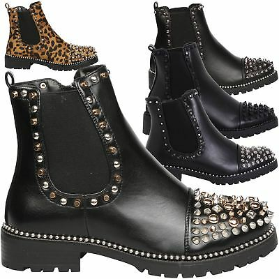Treasure Womens Low Heel Zip Up Studded Ankle Boots Elasticated Ladies Shoes