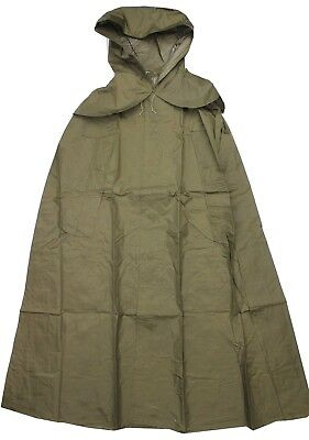 CZECH ARMY PONCHO HOODED RAIN CAPE in OLIVE GREEN