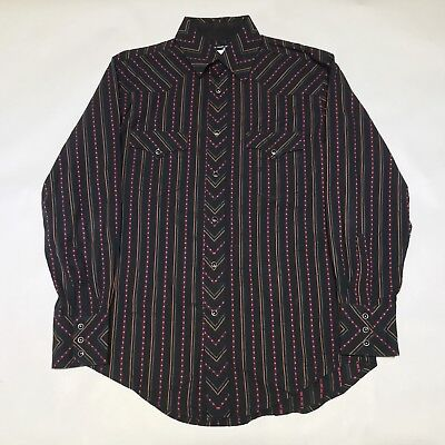 Vintage Wrangler Men's L/S Western Button Up Shirt Black Pearl Snap - MEDIUM