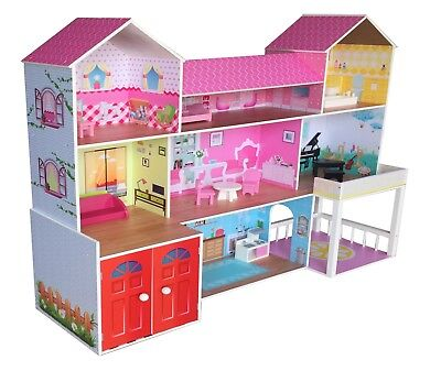 Kiddi Style Huge Wooden Mansion Manor Dolls House & Furniture - Fits Barbie