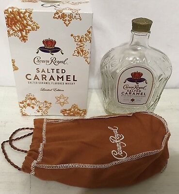 2 EMPTY CROWN ROYAL Limited Edition Salted Caramel Box Bag & Bottle EMPTY