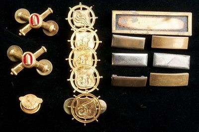 Lot 15 Vintage Military Pins Crossed Cannons Artillery Nautical Transport & Bars
