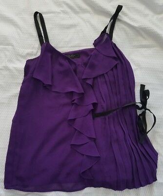 NWT Jessica Simpson Women's Size Medium Purple Acai Blaire Side Tie Tank Top D3
